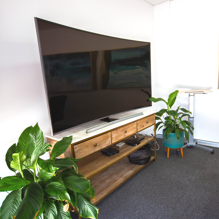 Large Curved TV in Modern Meeting Room Lisburn Boardroom East Brisbane